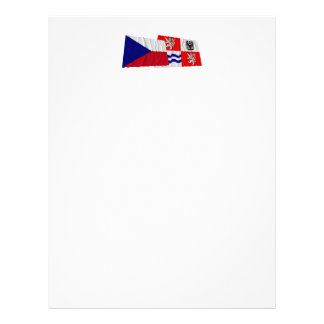 Czech and Central Bohemia Waving Flags Personalized Letterhead