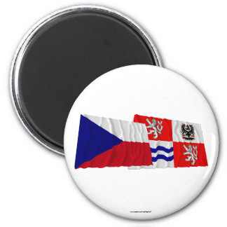 Czech and Central Bohemia Waving Flags Magnet
