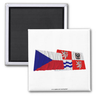 Czech and Central Bohemia Waving Flags Magnets