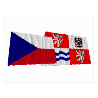 Czech and Central Bohemia Waving Flags Postcards
