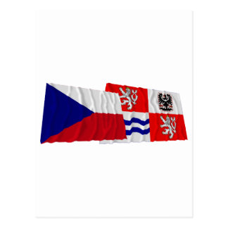Czech and Central Bohemia Waving Flags Postcard