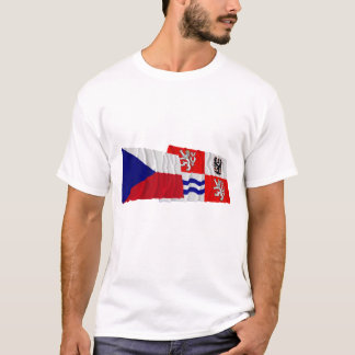 Czech and Central Bohemia Waving Flags T-Shirt