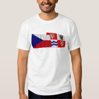 Czech and Central Bohemia Waving Flags T Shirt