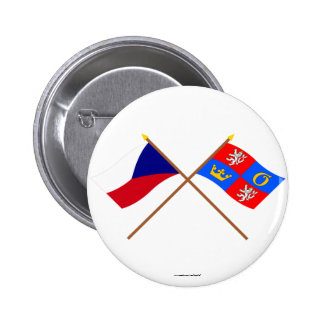 Czech and Hradec Kralove Crossed Flags 2 Inch Round Button