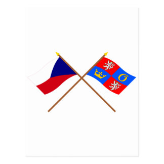 Czech and Hradec Kralove Crossed Flags Postcard