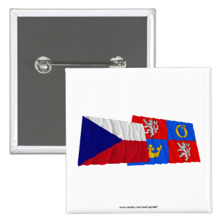 Czech and Hradec Kralove Waving Flags 2 Inch Square Button