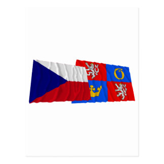 Czech and Hradec Kralove Waving Flags Postcard