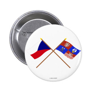 Czech and Karlovy Vary Crossed Flags 2 Inch Round Button
