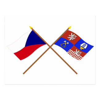 Czech and Karlovy Vary Crossed Flags Postcard
