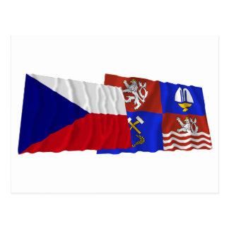 Czech and Karlovy Vary Waving Flags Postcard