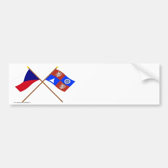 Czech and Liberec Crossed Flags Bumper Sticker