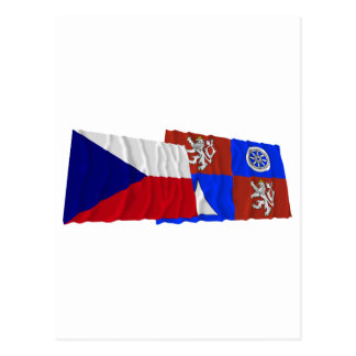 Czech and Liberec Waving Flags Postcard