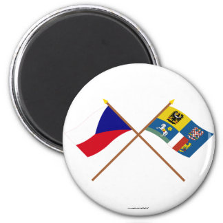 Czech and Moravia-Silesia Crossed Flags 2 Inch Round Magnet