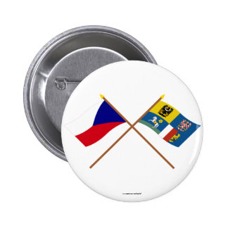 Czech and Moravia-Silesia Crossed Flags 2 Inch Round Button