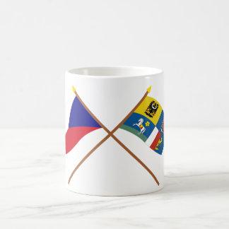 Czech and Moravia-Silesia Crossed Flags Coffee Mug