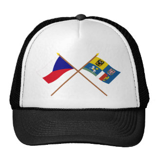 Czech and Moravia-Silesia Crossed Flags Trucker Hat