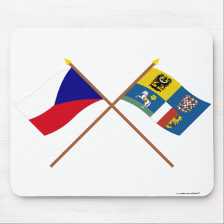 Czech and Moravia-Silesia Crossed Flags Mouse Pad