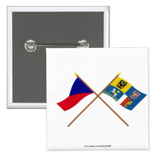 Czech and Moravia-Silesia Crossed Flags Pinback Button