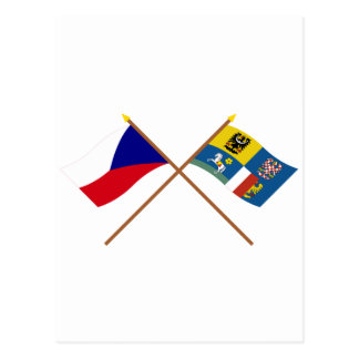 Czech and Moravia-Silesia Crossed Flags Postcard