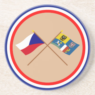 Czech and Moravia-Silesia Crossed Flags Sandstone Coaster