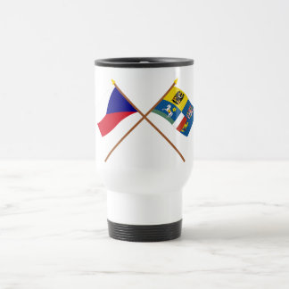 Czech and Moravia-Silesia Crossed Flags Travel Mug