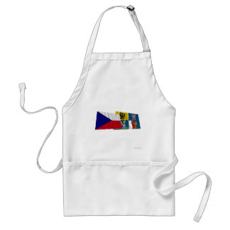 Czech and Moravia-Silesia Waving Flags Adult Apron
