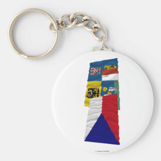 Czech and Moravia-Silesia Waving Flags Basic Round Button Keychain