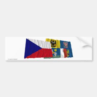 Czech and Moravia-Silesia Waving Flags Bumper Sticker