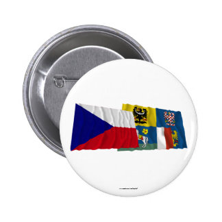 Czech and Moravia-Silesia Waving Flags Button