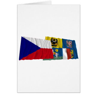 Czech and Moravia-Silesia Waving Flags Card