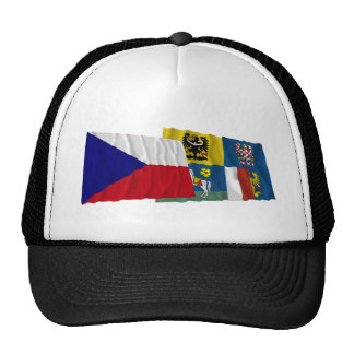 Czech and Moravia-Silesia Waving Flags Trucker Hat