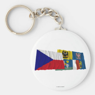 Czech and Moravia-Silesia Waving Flags Keychain