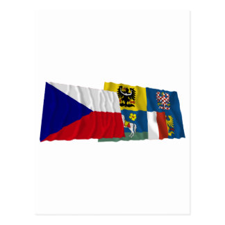 Czech and Moravia-Silesia Waving Flags Postcard