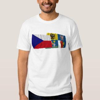 Czech and Moravia-Silesia Waving Flags T Shirt