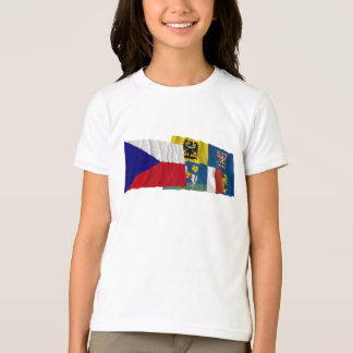 Czech and Moravia-Silesia Waving Flags T-Shirt