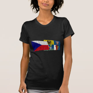 Czech and Moravia-Silesia Waving Flags Tee Shirt