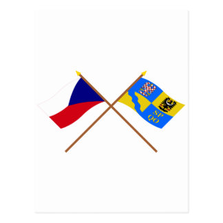 Czech and Olomouc Crossed Flags Postcard