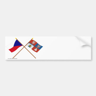 Czech and Pardubice Crossed Flags Bumper Stickers