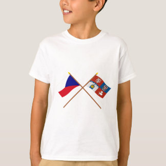 Czech and Pardubice Crossed Flags T-Shirt