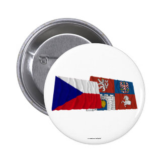 Czech and Pardubice Waving Flags 2 Inch Round Button