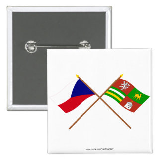 Czech and Plzen Crossed Flags 2 Inch Square Button