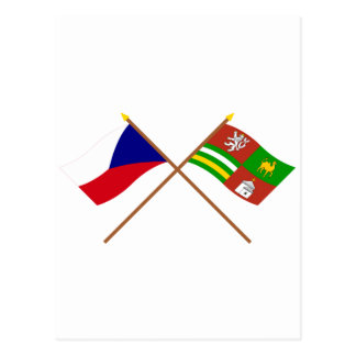 Czech and Plzen Crossed Flags Postcard