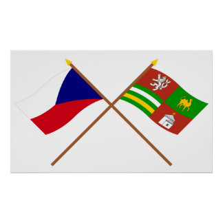 Czech and Plzen Crossed Flags Poster