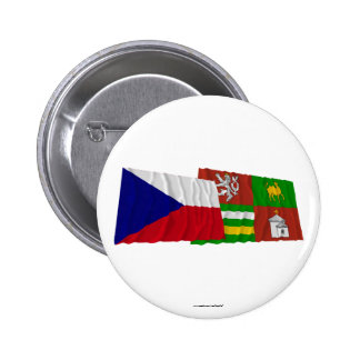 Czech and Plzen Waving Flags 2 Inch Round Button