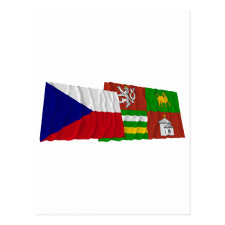 Czech and Plzen Waving Flags Postcard