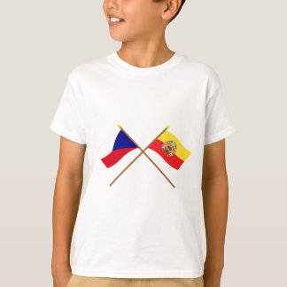 Czech and Prague Crossed Flags T-Shirt