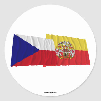 Czech and Prague Waving Flags Classic Round Sticker