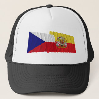 Czech and Prague Waving Flags Trucker Hat