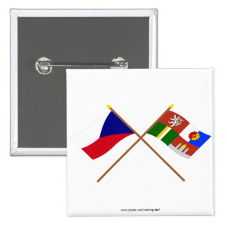 Czech and South Bohemia Crossed Flags 2 Inch Square Button