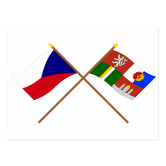 Czech and South Bohemia Crossed Flags Postcard